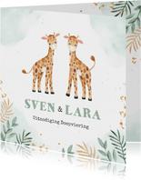 Doopuitnodiging tweeling met twee schattige giraffen