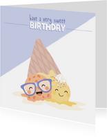 Dubbele verjaardagskaart voor een tweeling met ijsjes