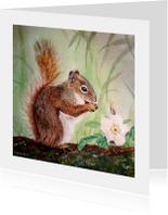 Eekhoorn Knabbel - kunstkaart