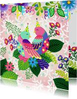 Een gezellige en kleurrijke verjaardagskaart met vogels