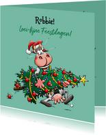 Een grappige kerstkaart met koe en kerstboom