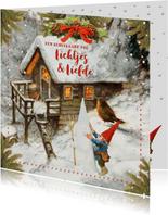 Een kersthuis vol lichtje en liefde kerstkaart