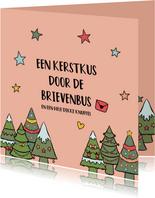 Een kerstkus door de brievenbus - kerstkaart