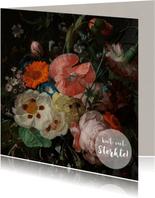 Een klassieke sterkte kaart met stijlvol bloemenschilderij