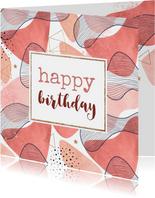 Een sprankelijke verjaardagskaart met geovormen vrouw