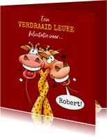 Een verdraaid leuke felicitatiekaart met giraffen