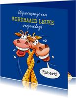 Een verdraaid leuke verjaardagskaart met 2 giraffen
