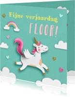 Eenhoorn en wolkjes verjaardagskaart