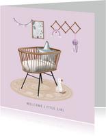 Eigentijds felicitatiekaartje babykamer geboorte meisje