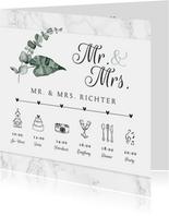 Einaldung Hochzeit Timeline Marmor & Botanik