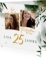 Einladung 25. Geburtstag Foto und Zweige