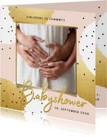 Einladung Babyshower Foto - Hintergrundfarbe anpassbar