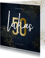 Einladung Geburtstag große 50 und Goldspritzer