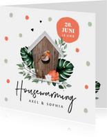 Einladung Housewarming Rotkehlchen Vogelhaus