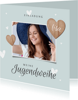 Einladung Jugendweihe Foto & Herzen