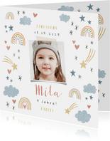 Einladung Kindergeburtstag eigenes Foto, Regenbogen & Sterne