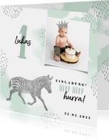 Einladung Kindergeburtstag mit Foto, Zebra und Krone