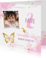 Einladung Kindergeburtstag mit goldenem Schmetterling