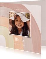 Einladung Kindergeburtstag Pastell Regenbogen & Foto