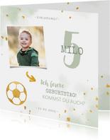 Einladung Kindergeburtstag Wasserfarbe, Foto und Fußball