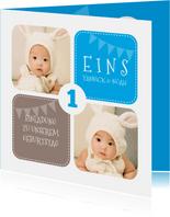 Einladung Kindergeburtstag Zwillinge blau mit Fotos
