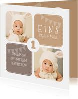 Einladung Kindergeburtstag Zwillinge braun mit Fotos