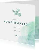 Einladung Konfirmation Taube und Wasserfarbe Foto innen