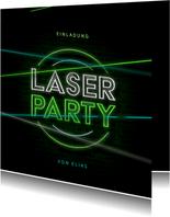 Einladung Laserparty Laserstrahlen grün