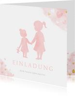 Einladung Taufe kleine & große Schwester rosa
