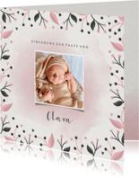 Einladung Taufe rosa Blumenrahmen Foto