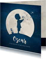 Einladung Taufe Scherenschnitt Junge & Mond