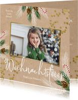 Einladung Weihnachtsfeier mit Tannenzweigen, Konfetti & Foto