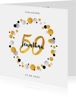 Einladung zum 50. Geburtstag Goldakzente