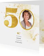 Einladung zum 50. Geburtstag mit großer goldener 50
