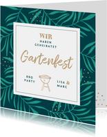 Einladung zum Gartenfest Palmblätter & BBQ