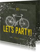 Einladung zum Geburtstag Let's Party mit Fahrrad