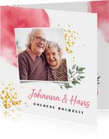 Einladung zum Hochzeitsjubiläum Foto und rosa Wasserfarbe