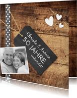 Einladung zum Hochzeitsjubiläum Fotocollage auf Holz