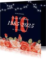 Einladung zum Hochzeitsjubiläum Rosen & Lichterkette
