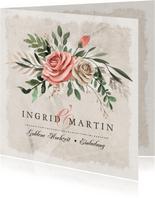 Einladung zum Hochzeitsjubiläum Rosenstrauß