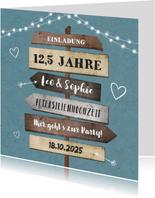 Einladung zum Hochzeitsjubiläum Foto Schilder & Lichter blau