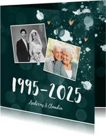 Einladung zum Hochzeitstag Fotos auf blaugrün