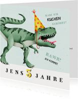 Einladung zum Kindergeburtstag Dinosaurier mit Hut