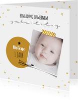 Einladung zum Kindergeburtstag Goldschatz mit Foto