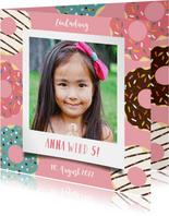 Einladung zum Kindergeburtstag Polaroidfoto und Donuts