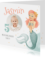 Einladung zum Meerjungfrauen Geburtstag Wasserfarbe mit Foto