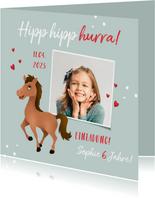 Einladung zum Pferdegeburtstag mit Foto, Pferd und Herzen