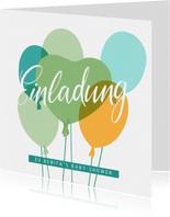 """Einladung zur Baby-Shower """"Ballons"""" - Blaugrün"""