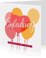 """Einladung zur Baby-Shower """"Ballons"""" - Rosa"""