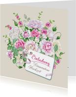 Einladung zur diamantenen Hochzeit Rosenstrauß